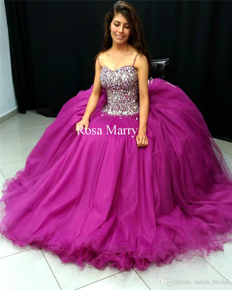 Luxury Purple Crystals Sweet 16 Quinceanera Dresses 2018 Ball Gown ...