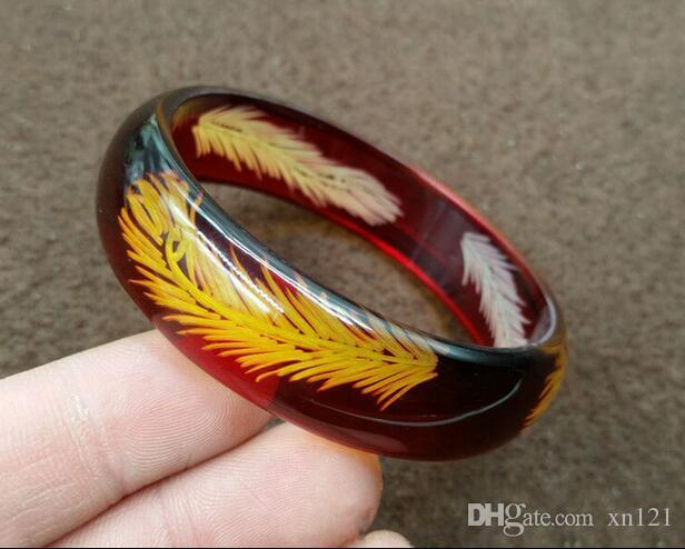 Natural new ice feather carved amber beeswax bracelet men and women amber