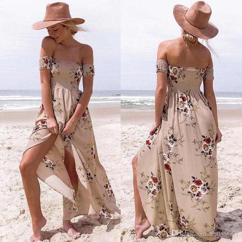 Women S Homecoming Dresses Flower Girl Slit Maxi Dresses Boho Floral Print  Strapless New 2018 Chiffon Beach Clothing Clothing Dress Cocktail Dress  Party ... 652031ed500