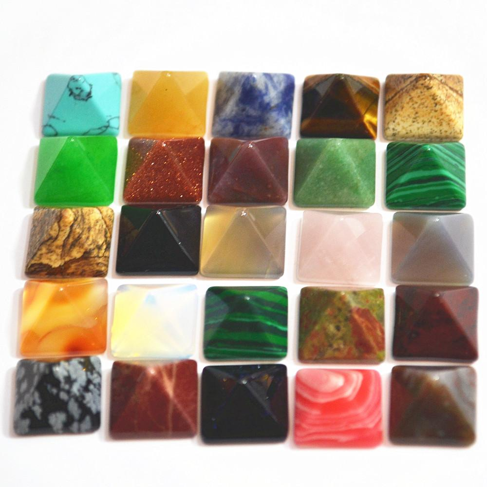 ashion Jewelry Beads Best Sale Fashion Natural Stone Square Pyramid CAB Cabochons Mixed Color Beads 14mm*14*High8mm 30PCS Wholesale Free ...