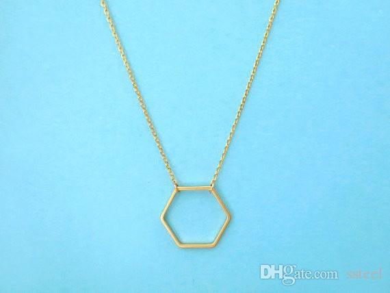Hexagone Simple 10 Bijoux Géométrique Or Neckalces Hive Pcs Collier Ligne Ouverte Femmes Sexangle Argent Pour dxBCero