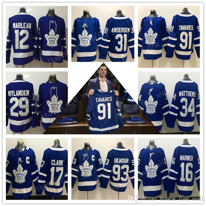 dc340040266 2019 Toronto Maple Leafs 91 John Tavares Jerseys 34 Auston Matthews Hockey  16 Marner 29 Nylander 31 Andersen Marleau Clark Gilmour Blue White Men From  ...