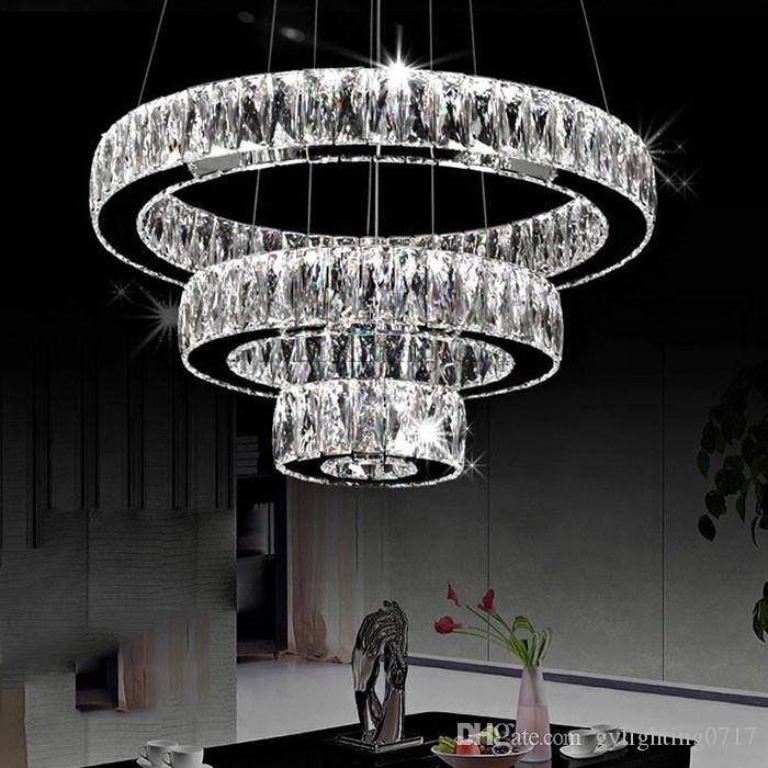 Ac100 240v Modern Led Chandeliers Long Crystals Diamond