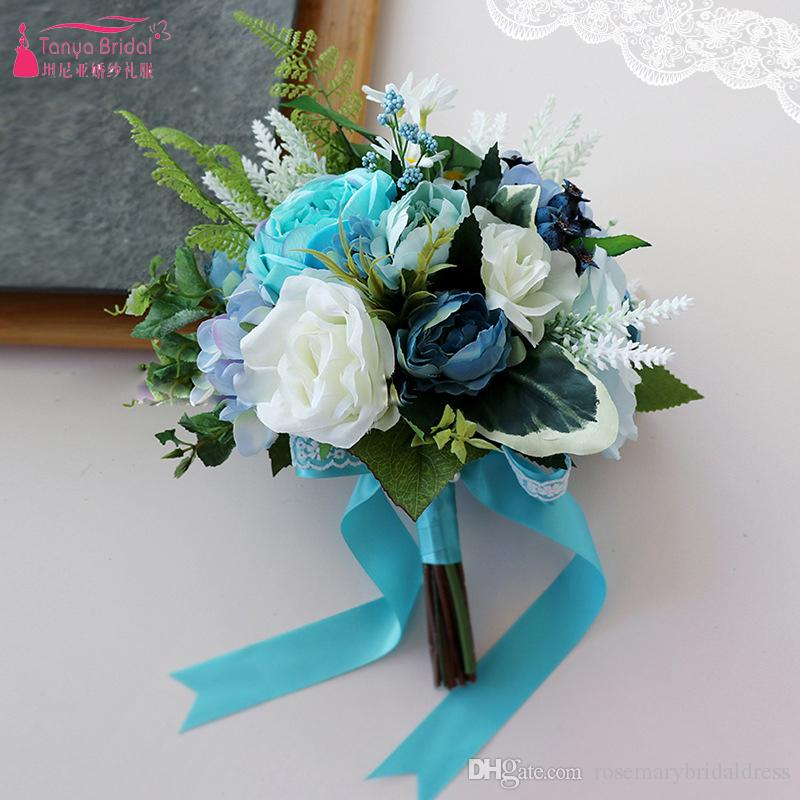 Blue white artificial wedding bouquets for brides casamen lace blue white artificial wedding bouquets for brides casamen lace wedding flowers brooch bouquets bouquet de mariage royal blue wedding flowers silk flower mightylinksfo