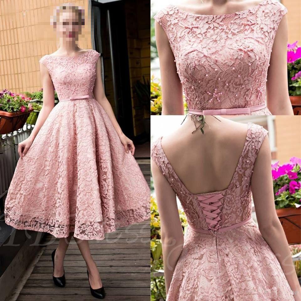 Compre Blush Rosa Té Longitud Vestidos De Baile Encaje Completo ...