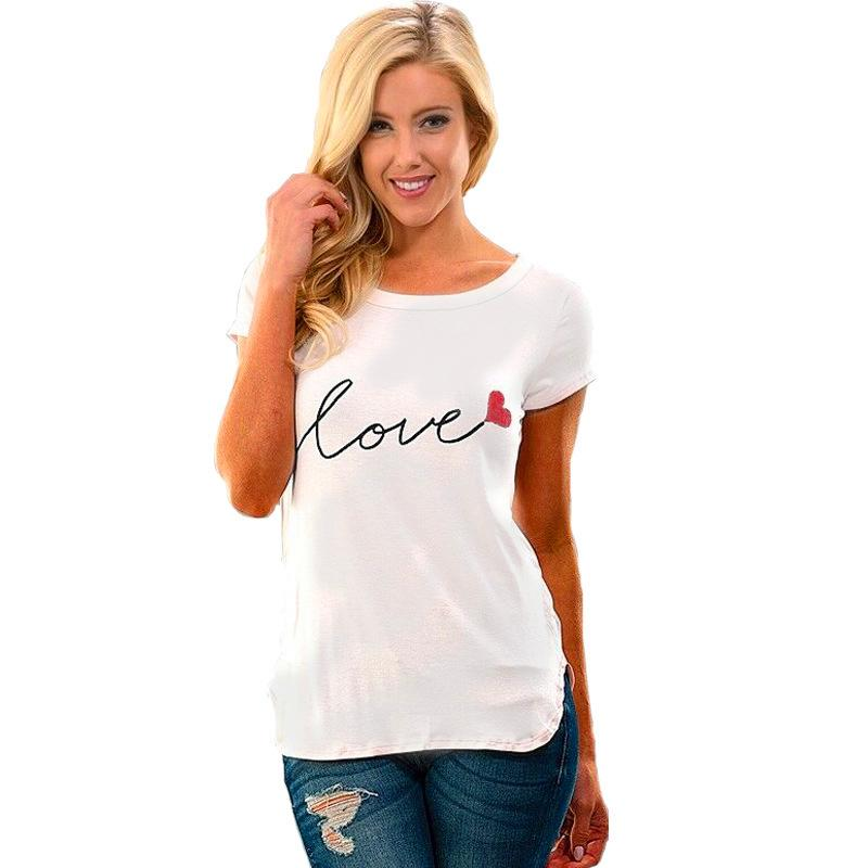 9dd5dcb2dc10c Love Letter Sweet Style Casual Slim Women T Shirt White Short Sleeve Summer  New Plus Size O Neck Women Tees Shirt Tops Cool Shirt Designs T Shirt Quotes  ...