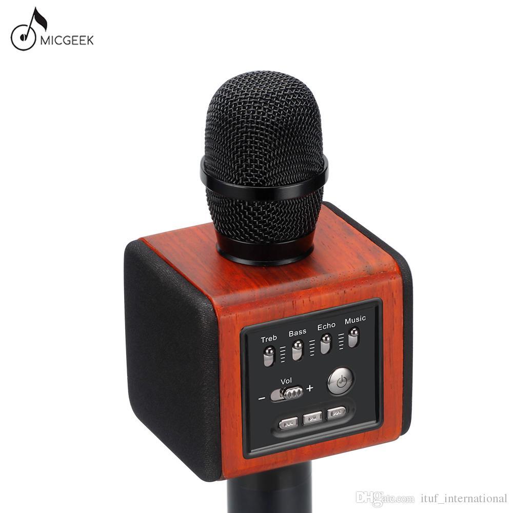 Original Brand MicGeek New ELF Wireless Karaoke Microphone 2 1 Sound Track  Natural Rosewood DSP Chip Voice Speakers Smartphone