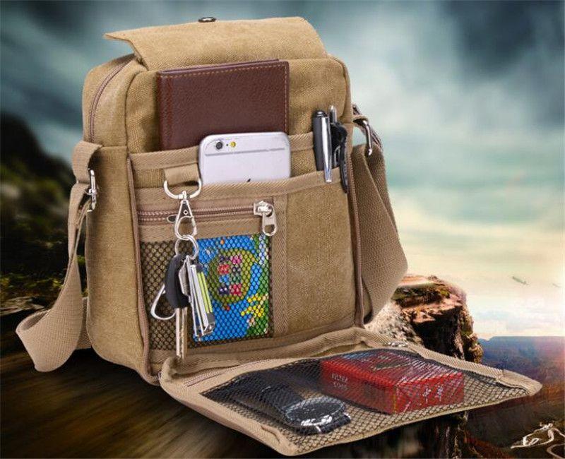 Lona de los hombres bolsa de mensajero Nuevo Negocio Casual Bolsas de hombro Ocio Multifunción Bolsa Crossbody Bolsa de viaje multifuncional al aire libre