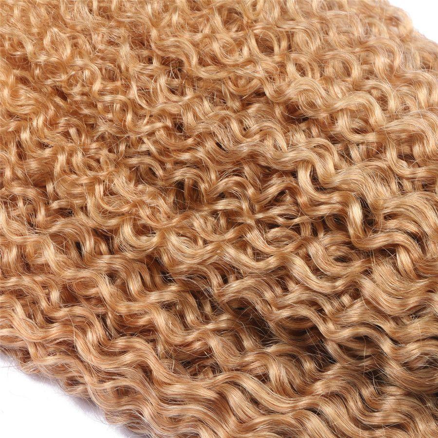 Honey Blonde Ombre Kinky Curl Extensión del cabello Afro Kinky Hair 1b 27 Strawberry Blonde Dark Root El cabello humano teje los paquetes de la virgen peruana