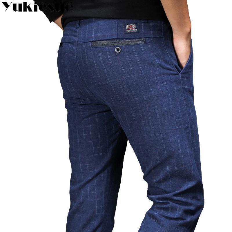 Compre 2018 Nueva Inglaterra Pantalones De Cuadros Y Pantalones De Vestir  Hombres Lijado Masculino Pantalones De Invierno De Los Hombres Long  Elasticity ... 6ba7dab1bc4