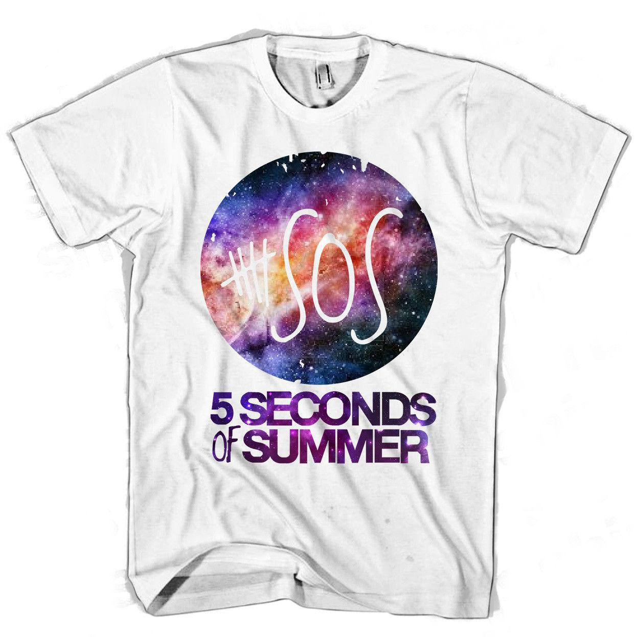 5 Seconds Of Summer Galaxy Purple Men's / Women's T Shirt Summer Short Sleeves Cotton T-Shirt Fashion