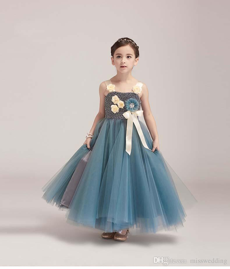 2018 Latest Style Thin Straps Ankle Length Flower Girls\' Dresses ...