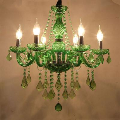 Modern Led Chandelier Lighting For Dining Room Bedroom Kitchen Light Fixtures Lustre De Cristal Teto Green Color Glass Ceiling Hanglamp Rectangular Pendant