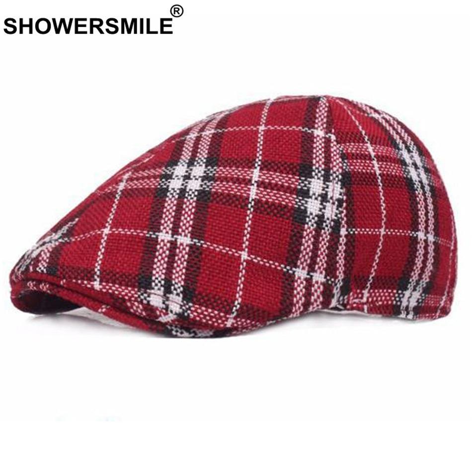 b7f4c76befa97 SHOWERSMILE Red Plaid Berets Women Cotton Linen Checkered Duckbill ...