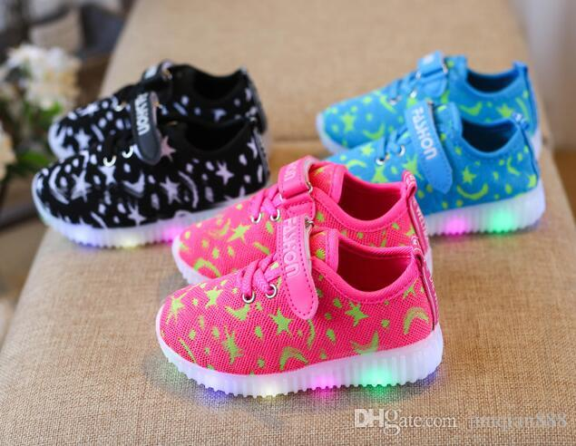 2018 Childrens Lace Light New Shiny Sports Shoes Sneakers Baby Boys And Girls Led Light Casual Shoes Modern Techniques Mother & Kids