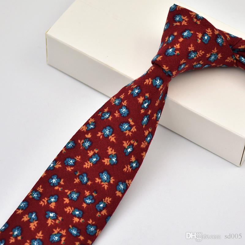 Algodón Estampado de flores Corbata Corbata Moda Hombres Estilo Europeo Ocio Corbata Sin Desvanecimiento Pilling Calidad Corbata Nueva Llegada 10 8nn Z