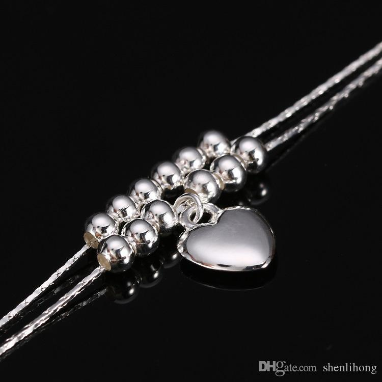 double layer anklet with heart charm anklet bracelet string into some copper beads allergy free