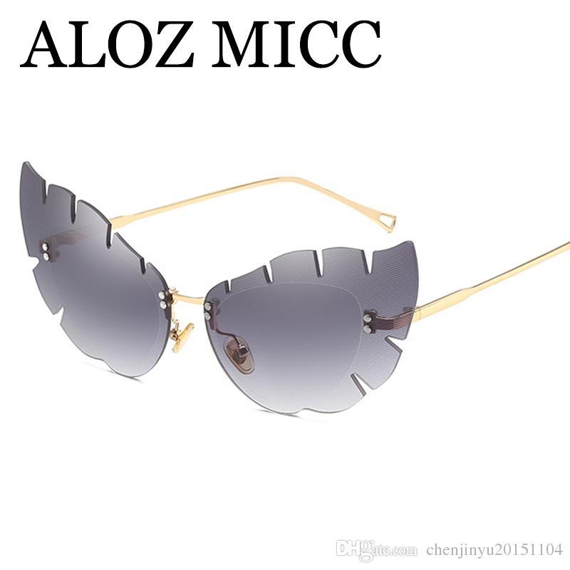 80ed6222b2 ALOZ MICC New Rimless Cat Eye Sunglasses Women Brand Designer Oversized  Butterfly Eyewear For Women UV400 Oculos A542