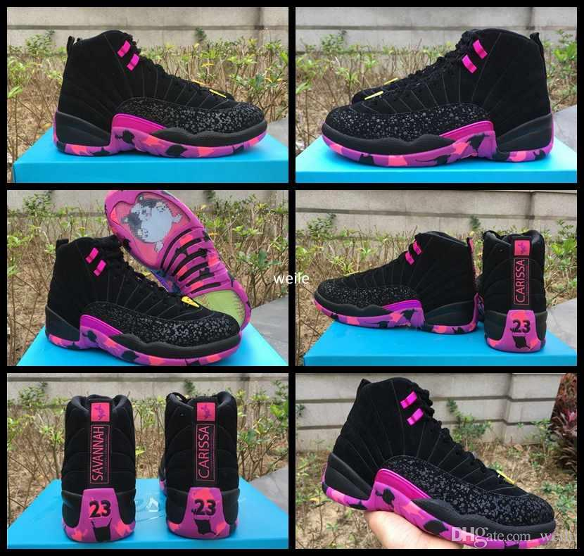 fb7cc114b161b7 2019 12 XII Doernbecher Charitable Men 2018 Basketball Shoes Black Hyper  Violet Pink 12s DB Carissa Sports Training Sneakers Size US 8 13 From  Weile