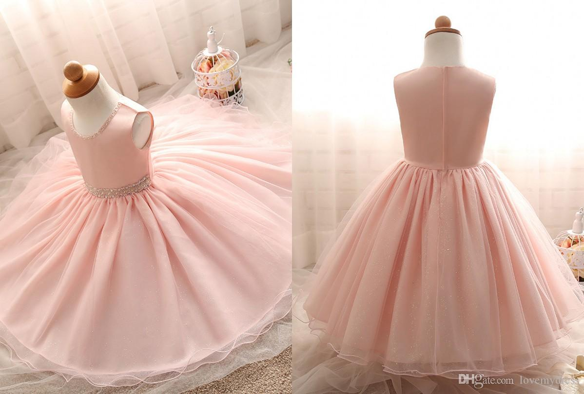 9e19cb9de5531 Cute Peach Color Flower Girls Dress 2018 A line Tulle Crystal Beaded Ribbon  Zipper Back First Communion Dress for Baby Kids Children