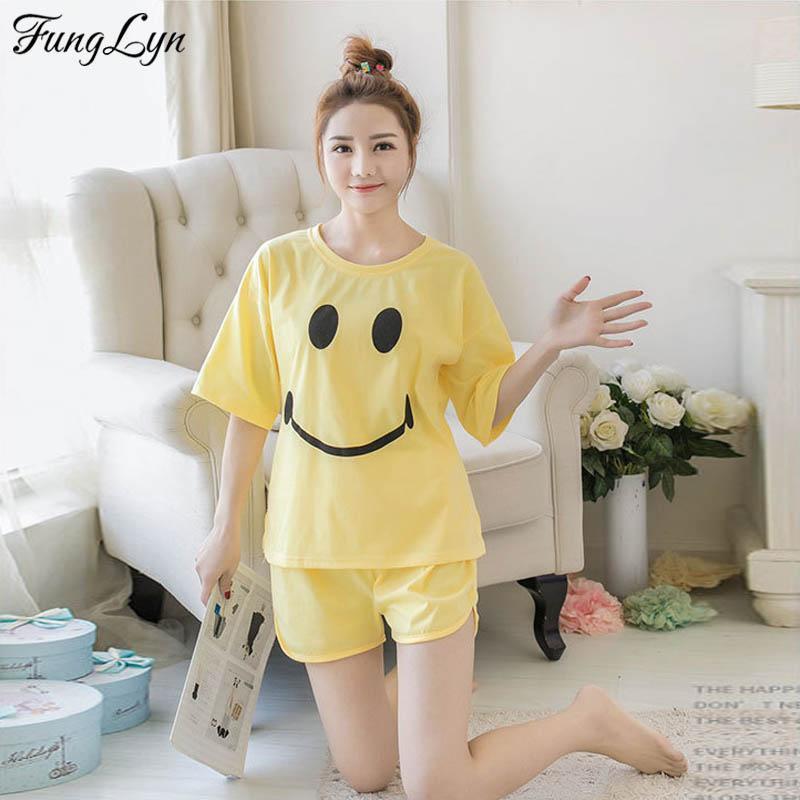 c237e5fb58 2019 FLD146 Cute Korean Smile Face Short Sleeve Pajamas Pyjamas Women  Pajama Sets Pijama Mujer Pyjamas Feminino Night Suit Sleepwear From  Unclouded01