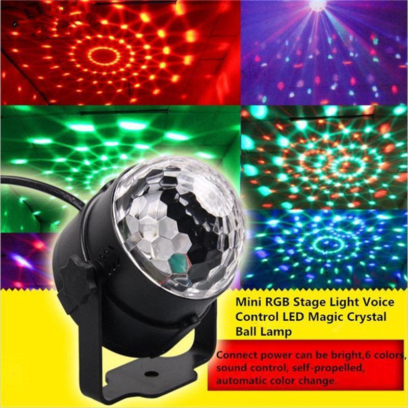 Mini RGB Stage Light Voice Control LED Magic Crystal Ball Lamp Rotation Laser Lights KTV Wedding Rooms Bar Christmas Flash Light