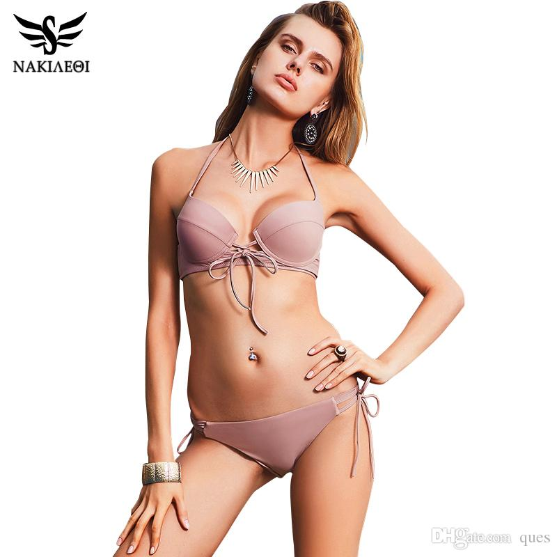 New Sexy Bikinis Women Swimsuit Beautiful Back Swimsuit Push Up Swimwear  Bandage Cut Out Bikini Set Halter Beach Bathing Suits Swim Wear UK 2019  From Ques ed381460a882