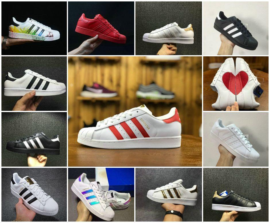 info for ac31b a98b8 2018 Superstar Original Black White Hologram Iridescent Junior Gold  Superstars Sneakers Originals Super Star Women Men Sport Running Shoes Best  Shoes For ...