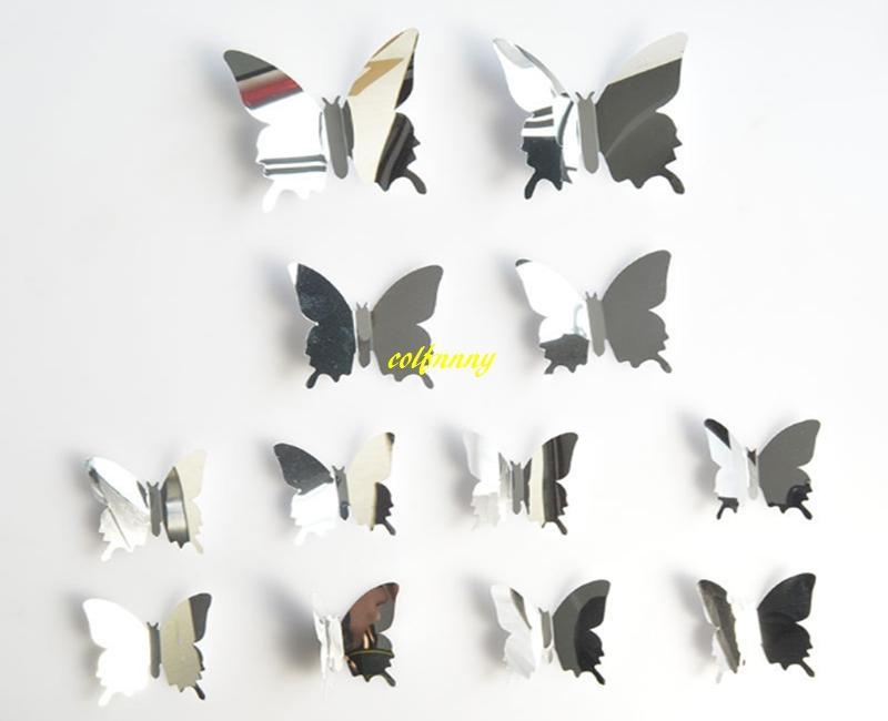 120 ensembles / Rapide / ensemble DIY Miroir 3D Papillon Stickers Muraux Décor À La Maison Enfants Cadeau Partie De Mariage Décor À La Maison Décoration B5301