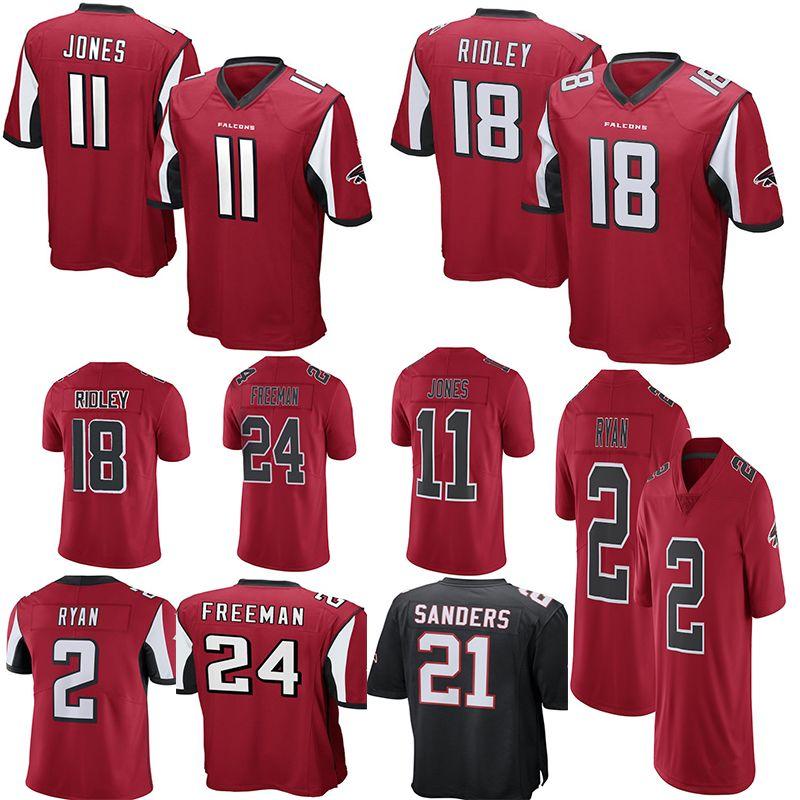 Atlanta Falcons 2 Matt Ryan 11 Julio Jones 18 Ridley Jersey Limited 21  Deion Sanders 24 Devonta Freeman Jerseys Mens Color Rushred Black Football  Jerseys ... 64e05be5b