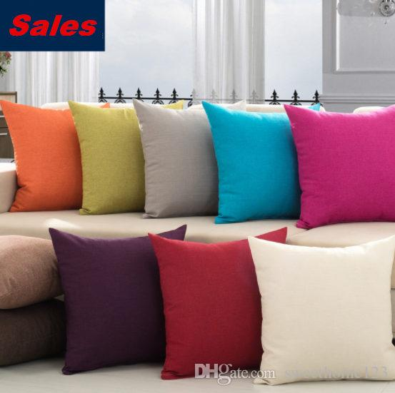 Solid Color Comfortable Linen Pillowcases 45cm Nap Pillow Cases 10 Colors Sofa Cushion Cover Bed Throw Pillow Cases for Home Decor