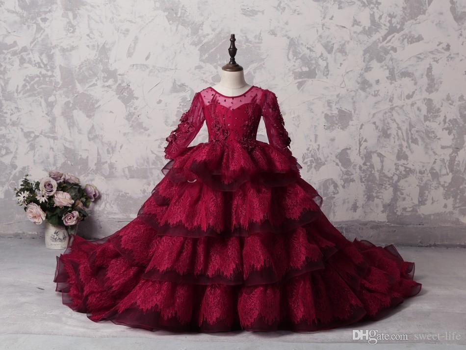 Nuovo arrivo 2018 pizzo rosso scuro ragazze spettacolo fiore ragazza abiti Sheer collo maniche lunghe a file gonna abito di sfera corsetto bambini vestito da partito