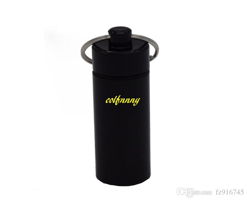 Fast shipping 18*60mm Large Keychain Aluminum Pill Box Waterproof Pill Cases Bottle Holder Container storage box