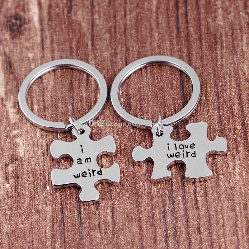 Couples Gift Alloy I love weird I am weird Letter Puzzle DogTag Keychain KeyRing Christmas Gift