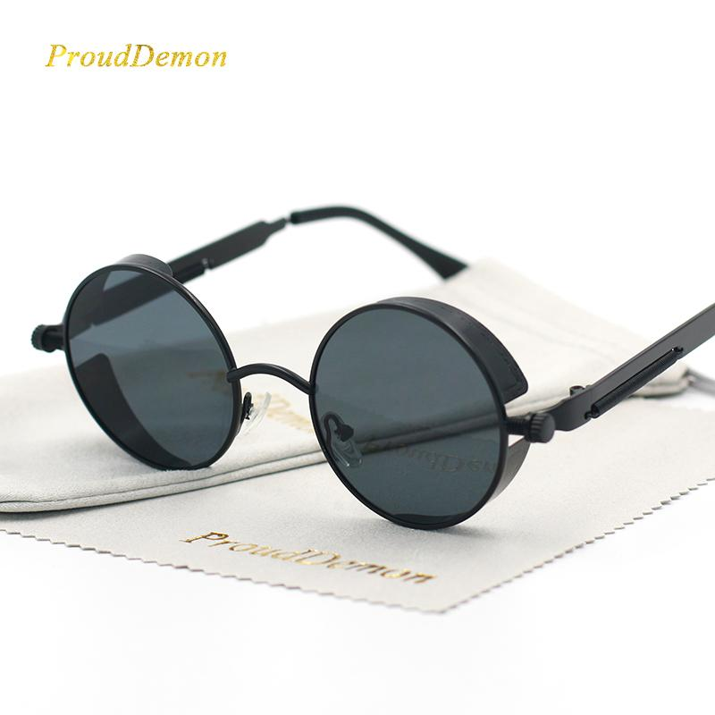 e8c434c440 Gothic Steampunk Round Metal Sunglasses for Men Women Mirrored ...
