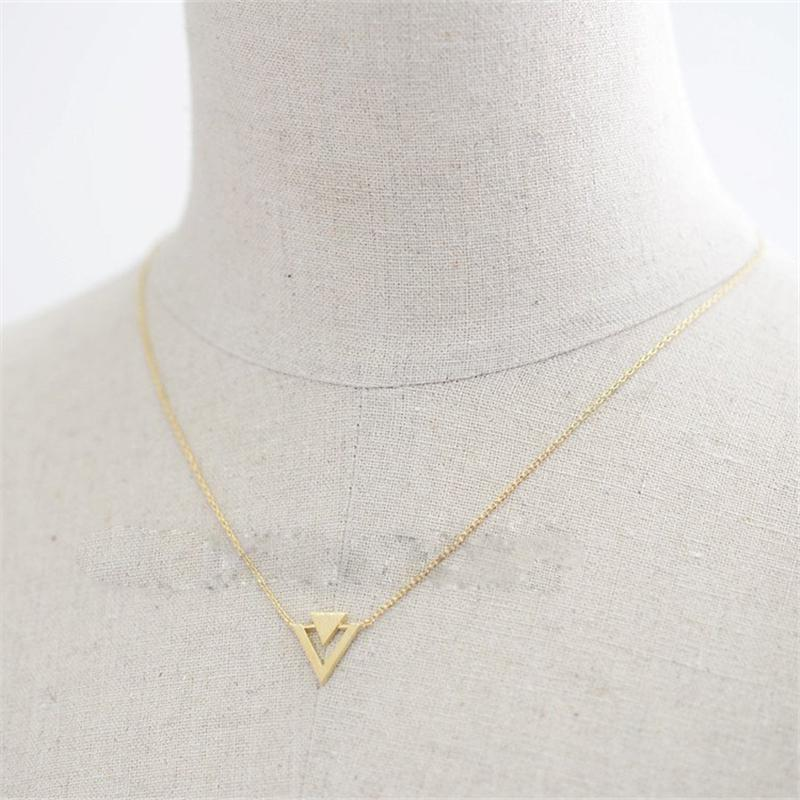 Fashion triangle necklaces Triangle insert geometric pendant necklaces Personality of superposition triangle plated necklaces for women