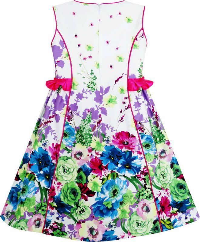 Sunny Fashion Girls Dress Elegant Blooming Rose Flower Garden O-Neck Cotton 2017 Summer Princess Wedding Party Dresses Size 4-10