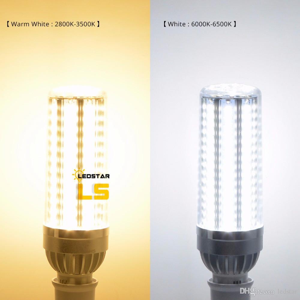 50W Super Bright Corn LED Light Bulbs E26 with E39 Large Mogul Base Adapter Cold White 5500Lumens for Large Area Lighting