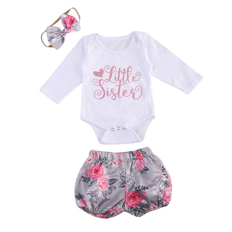 0f4d2594703b 2019 Kid Baby Girl Clothes Long Sleeve Sequins Romper Jumpsuit Bodysuit  Pants Shorts Bow Headband Floral Print Outfits Set 0 24M From Askkit