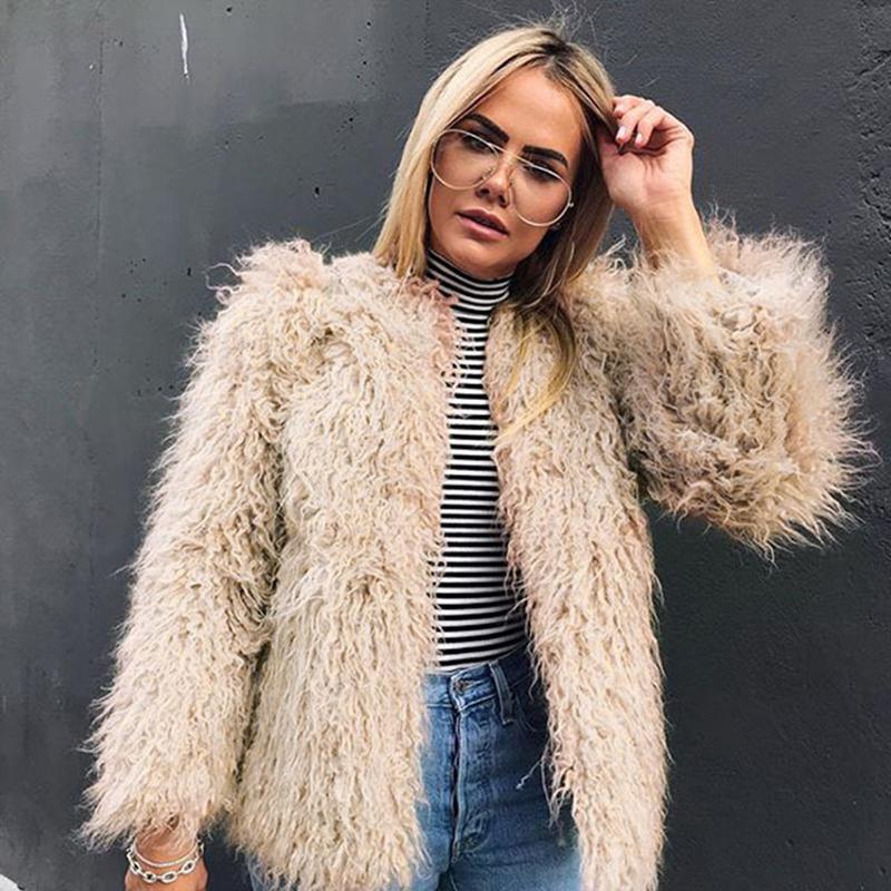 2019 Furry Fur Coats Women 2018 New Design Long Sleeve Outerwear