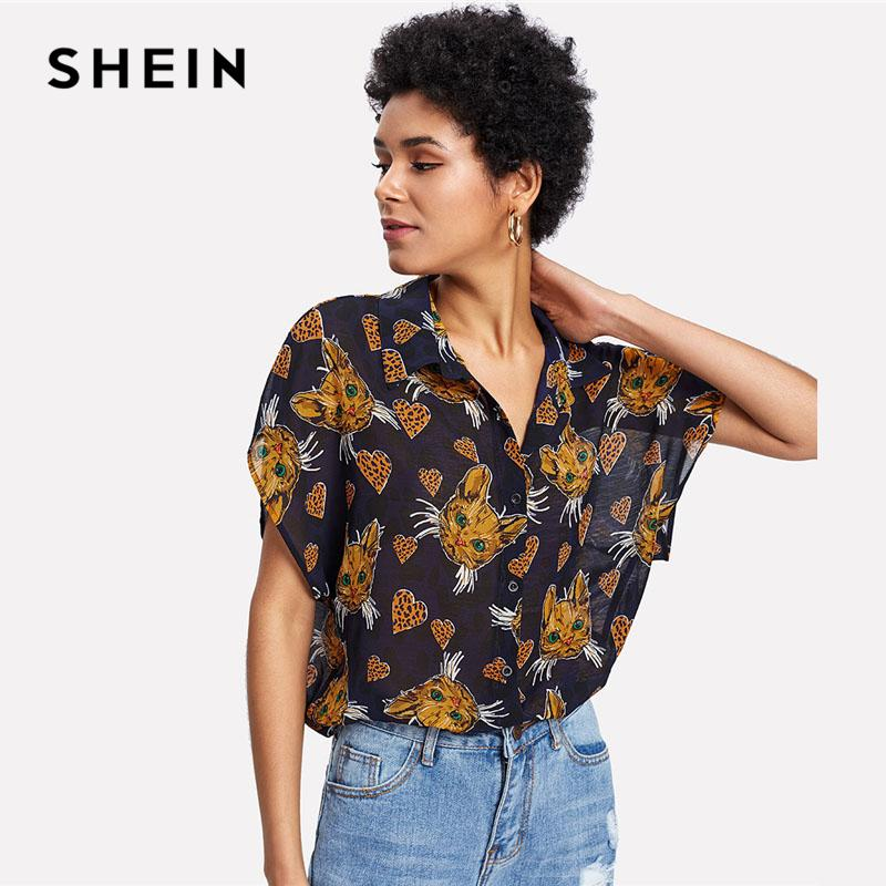2c518941cf 2019 SHEIN Cat And Heart Print Dolman Sleeve Shirt Women Batwing Sleeve  Button Oversized Blouse 2018 Summer Casual Top Blouse From Cute08