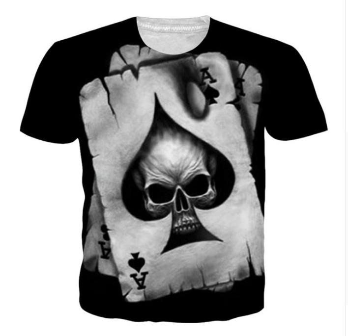 99476fc505b6 Summer Newest Fashion Womens Mens Poker Skull Printed Punisher Funny 3D  Creative Casual Hip Hop T Shirt DXS08 Retro Tee Shirts T Sirts From  Store2002