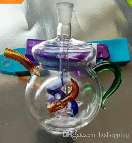 Weiße Teekanne Shisha Glas Bongs Zubehör, Glas Smoking Pipes bunte Mini-Multi-Farben Hand Pipes Beste Löffel Glas HF42