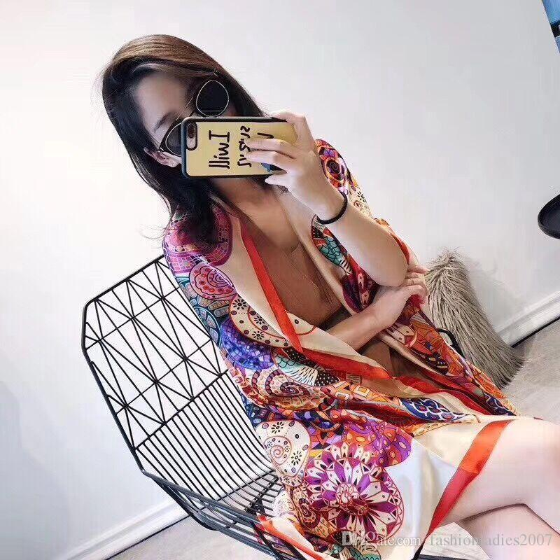 Presente de Natal de seda da marca cachecol mulheres de alta qualidade da marca colorida xale lenços Pashmina moda longo do anel A16 atacado