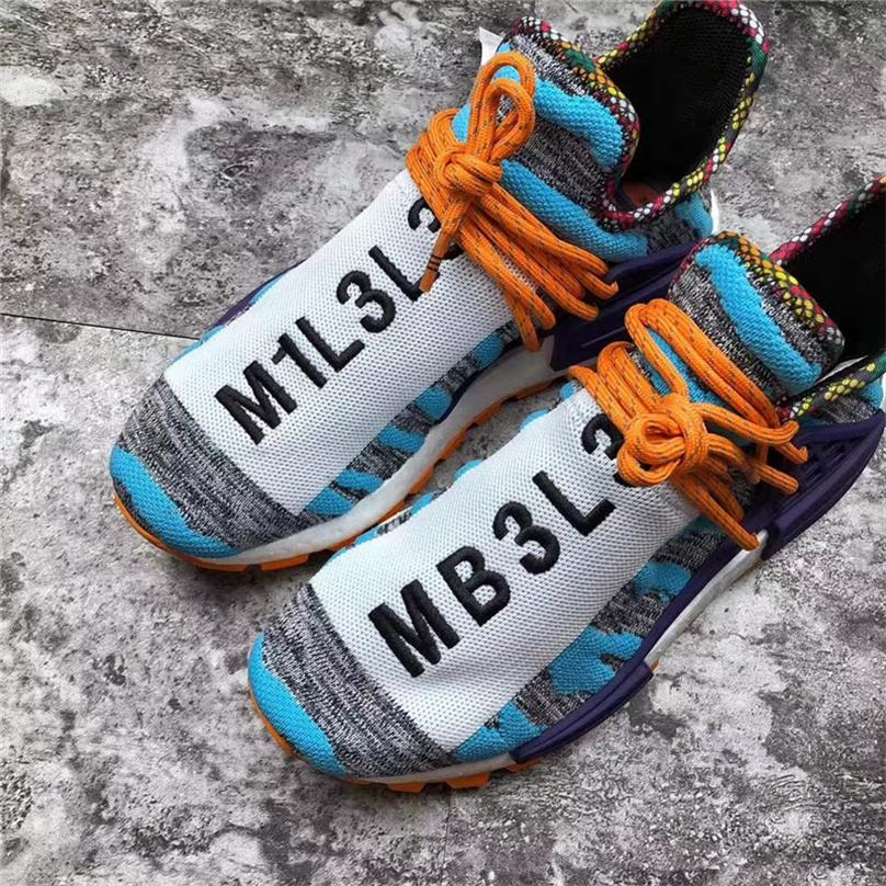 best service 66e12 b04c4 Pharrell Williams x Originals NMD Hu Trial Solar Pack M1L3L3 3MPOW3R MOTH3R  Human Race Men Women Running Shoes Authentic Sneakers With Box