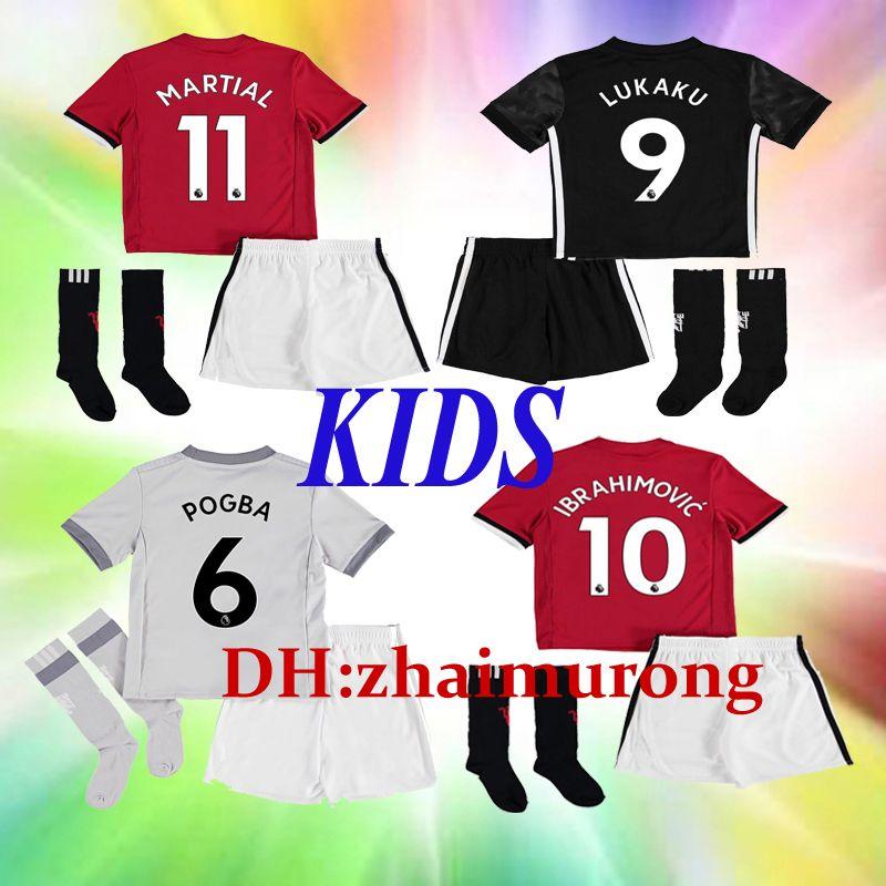 9eab18d80 POGBA IBRAHIMOVIC Kids Kit Soccer Shirts 2017 2018 Soccer Jerseys Socks 17  18 Football RASHFORD MATIC MATA MKHITARYAN LUKAKU JERSEYS United.