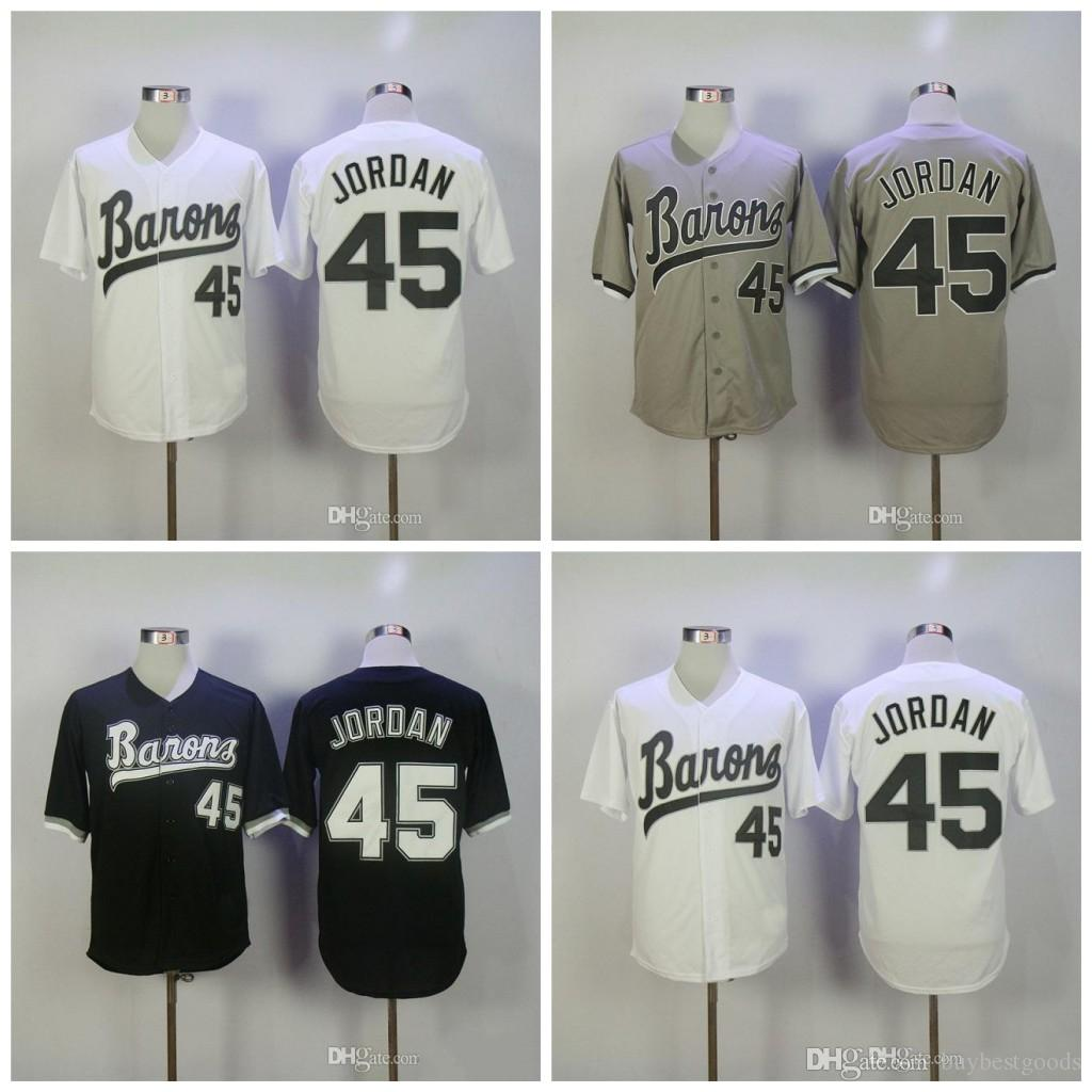 sale retailer 0d9c9 bc973 Michael #45 Birmingham Barons Movie Jerseys Retro Baseball Jersey Black  White Grey Stiched