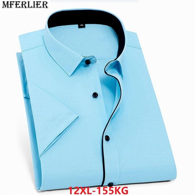 e072875a4e0 2019 MFERLIER Men Short Sleeve Shirts 11XL 12XL 9XL 10XL Summer Wedding  Dress Shirts Larger Plus Size Big 6XL 7XL 8XL Business Cheap From  Vanilla01