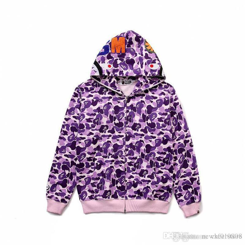 8a2fba6bed1 2019 A Bathing A Ape 1BAPE MILO MULTI CAMO SHARK FULL ZIP HOODIE From  Newxf01store