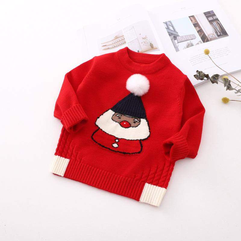 Christmas Sweaters Cute.Girls Christmas Sweater Baby Cardigan Santa Claus Print Red O Neck Pullover Kids Sweater Fashion Toddler Girl Winter Clothes